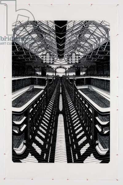 Mirror Image x 1 (Pools), 2008 (linocut print & glass headed pins paper)