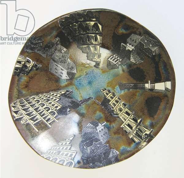 Babylon Rebuilt 3, 2015 (wood engravings & linocut prints on paper collaged onto glazed ceramic bowl)