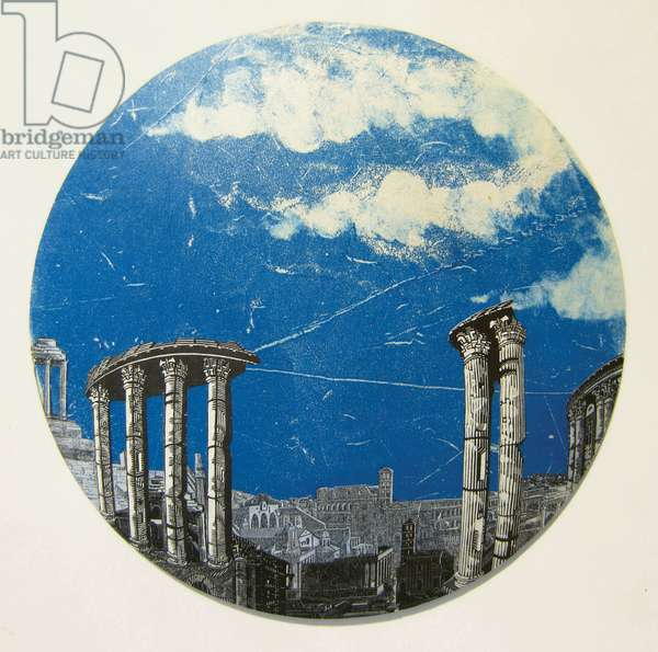 Under Roman Skies, 2012 (wood engraving & monotype prints collaged on convex glass)