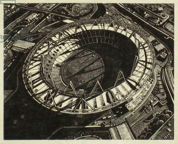 Olympic Shadows, 2011 (wood engraving print on paper)