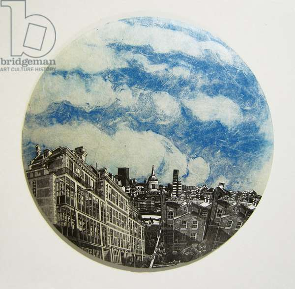 Under London Skies, 2012 (wood engraving & monotype prints collaged on convex glass)