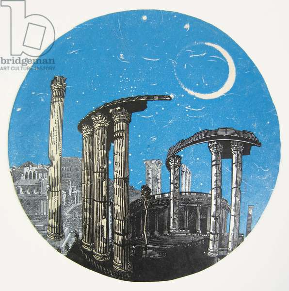Moonlit Afternoon, 2015 (wood engravings & monotype prints on paper collaged under convex glass clock face)