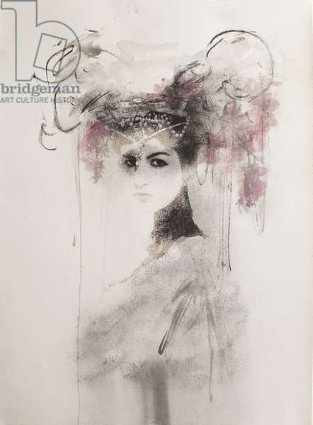Tiger's Bride No. 3, 2012, (screen-print on paper hand finished with ash, charcoal, solvent transfer and ink)