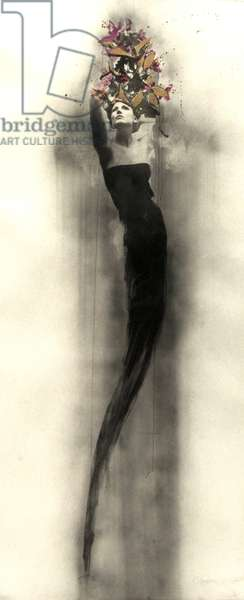 Ele, 2014, (hand-painted charcoal dust screen-print with 22 carat gold leaf)