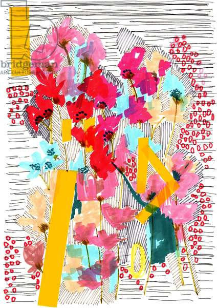Floral Doodle 3, 2013 (pen, ink, collage and paper)