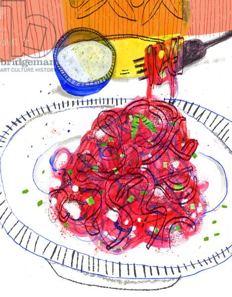 Spaghetti Night, 2020  (mixed media)