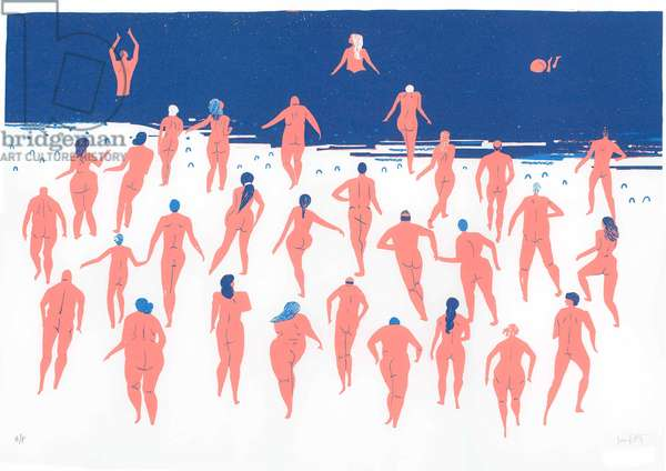 Nude Beach Run, 2016 (screenprint)