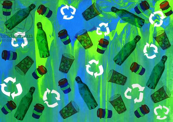 Recycling Bin Design, 2020 (screenprinting with brushpens and digital)