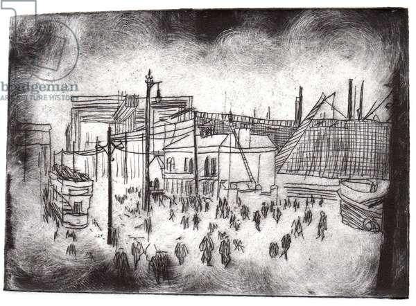 Belfast Docks, 2015, dry-point etching