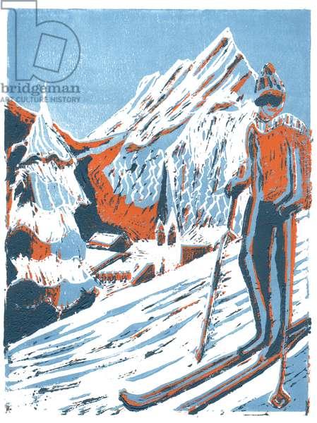 Ski, 2015, linoprint