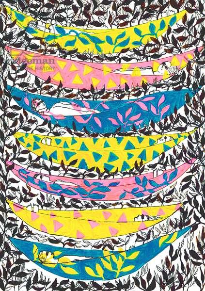 Hangin' Hammocks, 2015, acrylic and ink