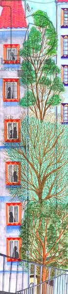 Three trees, 2017, brush pens