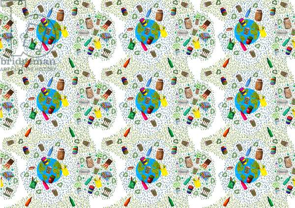 Recycling Bin Design, 2020 (Brush pens / Digital)