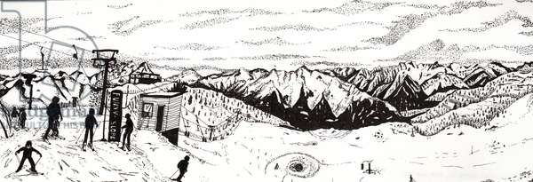 Skiing in Austria, 2020 f(fine liner on paper)