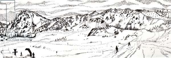 Skiing in Austria #2, 2020 (fine liner on paper)