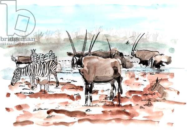Safari, 2018, Ink and Watercolour