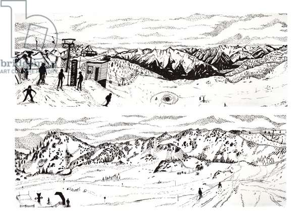 Skiing in Austria #3, 2020 (fine liner on paper)