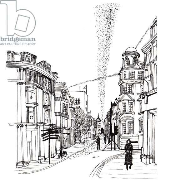 Cornmarket Street, 2019, Pen and Ink