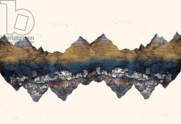 And the Mountains Echoed, 2013, dry-point etching and digital