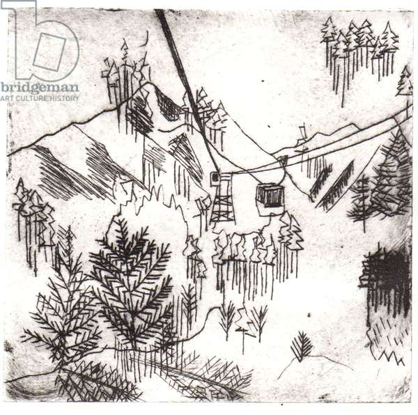 Mayrhofen Mountains, 2015, dry-point etching
