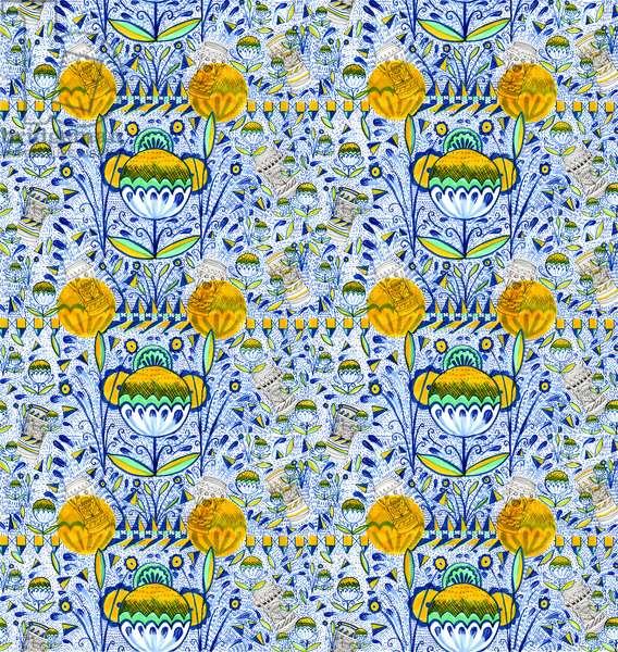 Ashmolean Museum Pattern Design, 2020 (brush and pens)