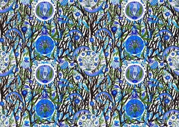 Ashmolean Museum Pattern Design #2, 2020 (brush and pens)