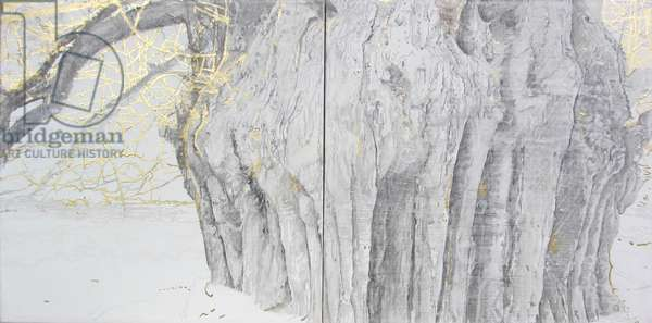 The Witness (Ankerwycke Yew) I & II, 2015 (oil, gold leaf and gesso on canvas)
