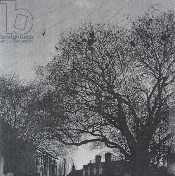 Ely Street, 2015 (solar plate etching with copper leaf)