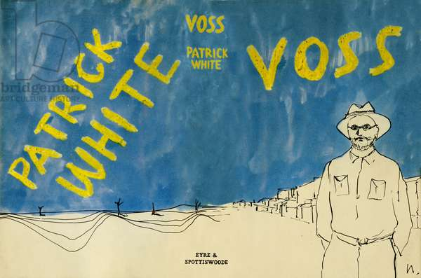 Book jacket for the novel 'Voss' by Patrick White, published 1957 by Eyre & Spottiswoode, London