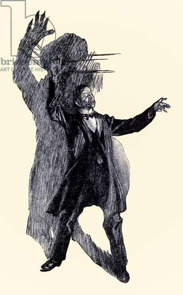 There stood Henry Jekyll' from the 'Strange Case of Dr Jekyll and Mr Hyde' by Robert Louis Stevenson (1850-1894) illustrated by Charles Raymond Macauley (1871-1934)
