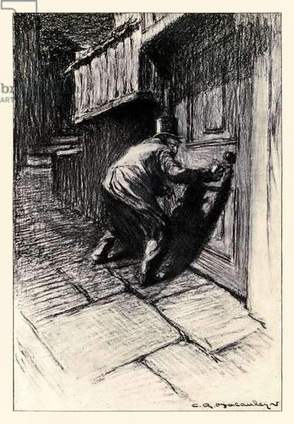 The Door' frontispiece from the 'Strange Case of Dr Jekyll and Mr Hyde' by Robert Louis Stevenson (1850-1894) illustrated by Charles Raymond Macauley (1871-1934)