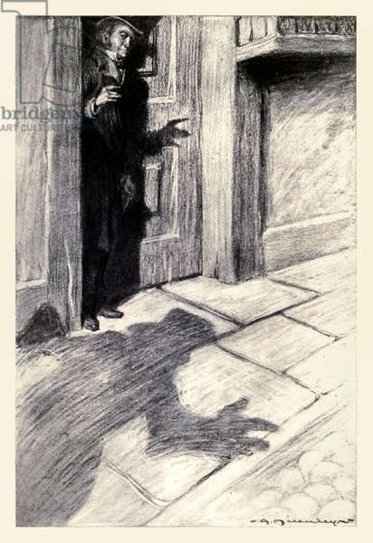 Mr Utterson was aware of an odd, light foot-step drawing near' from the 'Strange Case of Dr Jekyll and Mr Hyde' by Robert Louis Stevenson (1850-1894) illustrated by Charles Raymond Macauley (1871-1934)