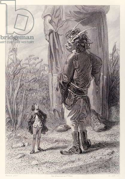 Gulliver meets the Queen's 30 foot tall dwarf who is delighted to have someone in court smaller than him to torment, from French Edition of 'Gulliver's Travels' by Jonathan Swift