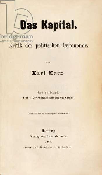 Title page of 'Das Kapital. Kritik der politischen Oekonomie' (Book 1) by Karl Marx published in 1867