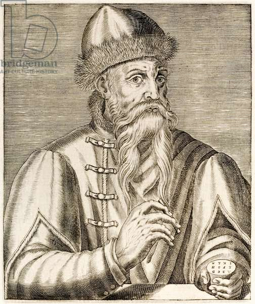 Johannes Gutenberg: German inventor who's invention of the movable type printing press started the printing revolution, from 'True Portraits' by André Thévet published in 1584