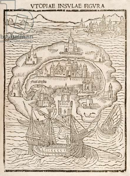 Utopiae Insulae Figura' (Map of the New Island of Utopia) from the 1516 first edition of 'Utopia' by Sir Thomas More (1478-1535)  Woodcut shows the fictional island on which an ideal society was found by Raphael Hythloday.
