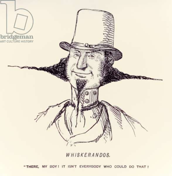 """'Whiskerandos """"There, my boy! It isn't everybody who could do that!"""" published in the satirical magazine 'Punch' in 1854"""