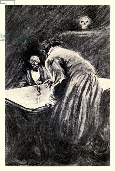 Will you suffer me to take this glass in my hand' from the 'Strange Case of Dr Jekyll and Mr Hyde' by Robert Louis Stevenson (1850-1894) illustrated by Charles Raymond Macauley (1871-1934)