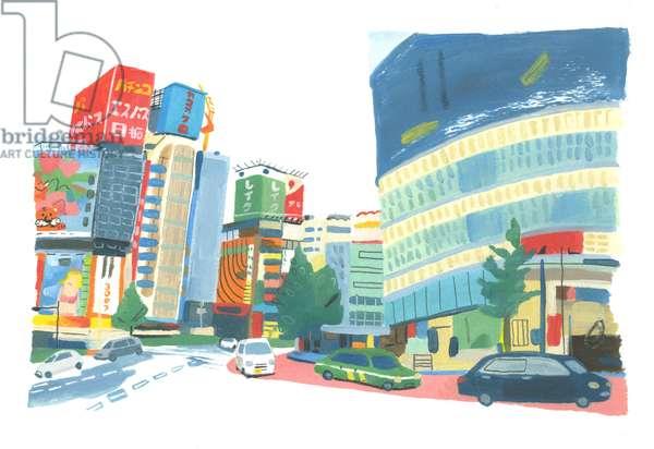 Shinjuku 2, 2015 (oil on paper)