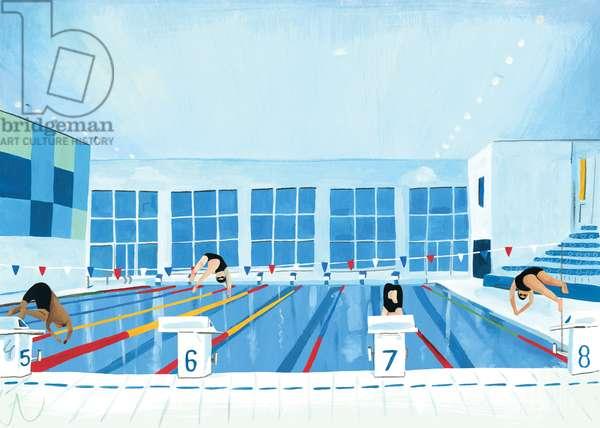 Lewisham Pool, 2015 (oil on paper)