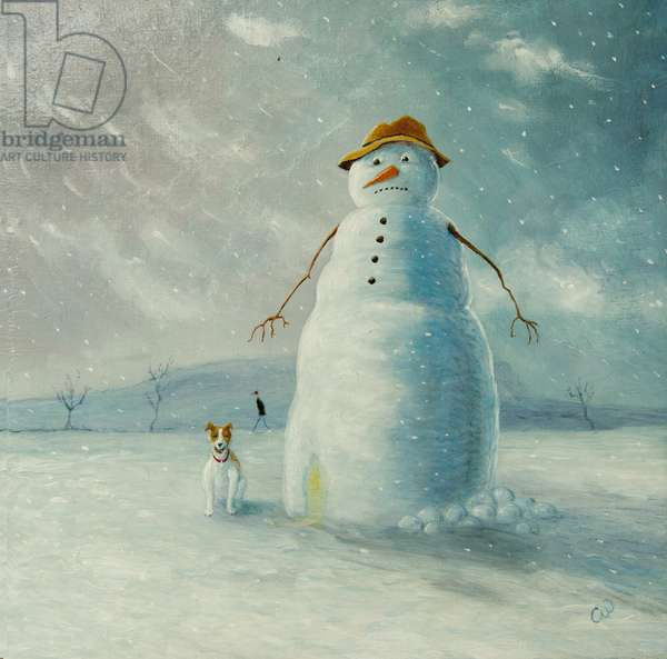 Warm Wishes (Snowman), 2012, (oil on panel)
