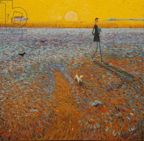Van Gogh Sun, 2014, (oil on panel)
