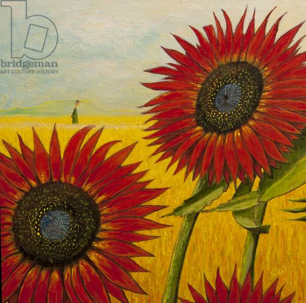 The Red Sunflowers, 2010, (oil on canvas)
