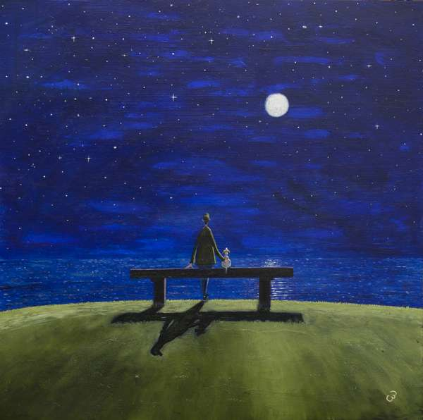The Moonlit Bench, 2017, (oil on panel)