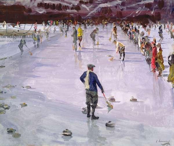 Curling in Wengen (oil on canvas)