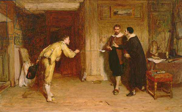 The Challenge: A Puritan's Struggle between Honour and Conscience, 1864 (oil on canvas)