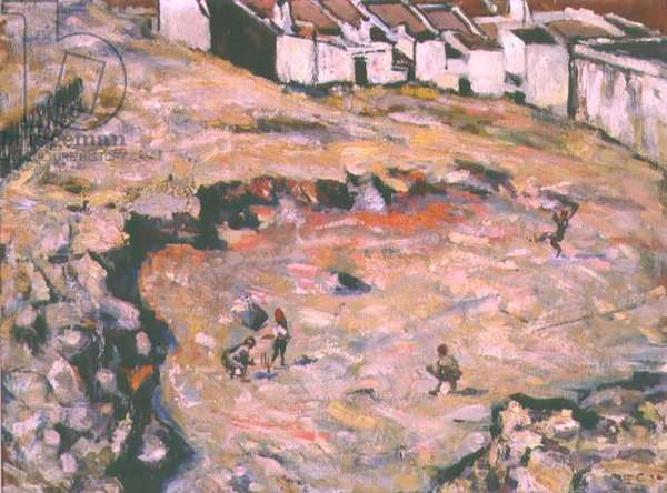 The Cricket Match (oil on hard board)