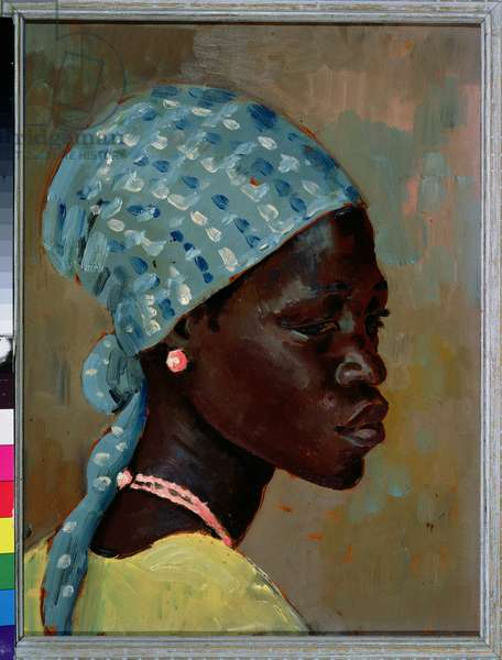 Portrait of a Young African Woman (oil on board)