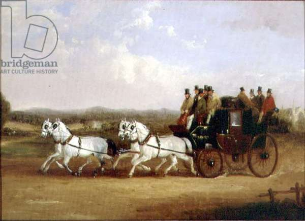 The Brighton Coach on the Open Road (oil on canvas)