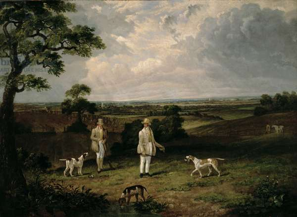 Partridge Shooting (oil on canvas)